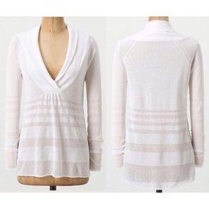 Anthro Moth Shawl Collar Pullover Sweater Cream S